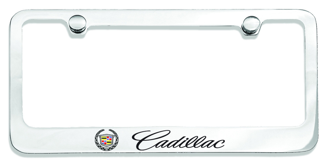 Cadillac with Crest Logo License Plate Frame Chrome - CarDetails.com