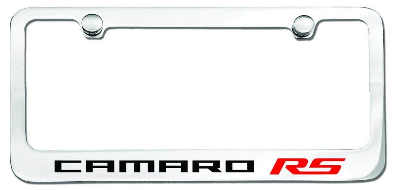 Camaro RS Logo License Plate Frame Chrome - CarDetails.com