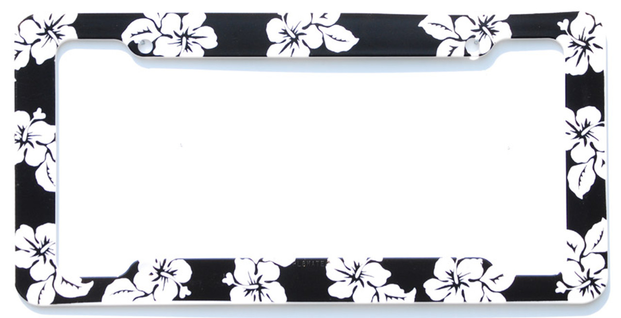 Aloha Black Hibiscus License Plate Frame Cardetailscom
