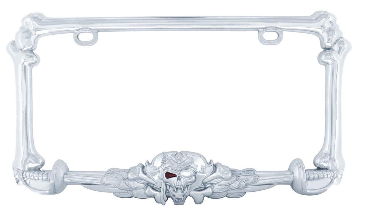 I Am A Pirate Chrome Metal License Plate Frame