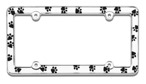 Dog Paws License Plate Frame Chrome Plated Plastic
