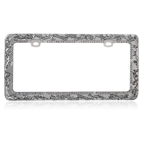 Vintage Lace License Plate Frame with T-smoke Crystal Rhinestones