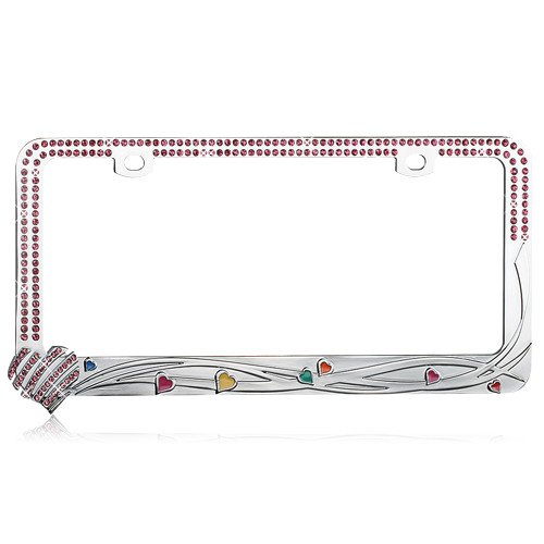 Hearts License Plate Frame with Pink Crystal Rhinestones