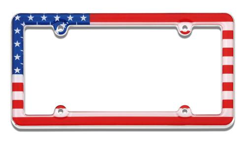 USA Flag License Plate Frame Plastic Chrome Plated
