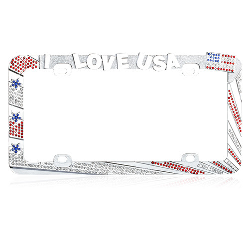 I LOVE USA License Plate Frame Red and Ice Crystals