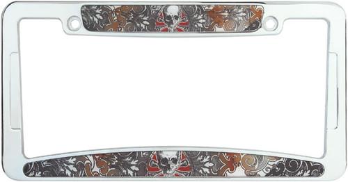 Spade Skull Chrome Plated License Plate Frame