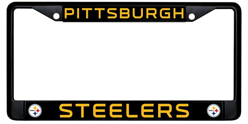 Pittsburgh Steelers  License Plate Frame Black and Gold