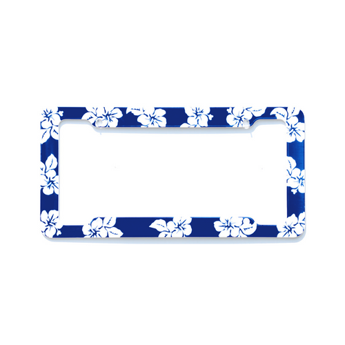 Aloha Blue Hibiscus License Plate Frame