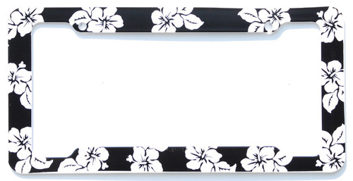 Aloha Black Hibiscus License Plate Frame