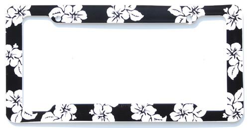 Aloha Black Hibiscus License Plate Frame