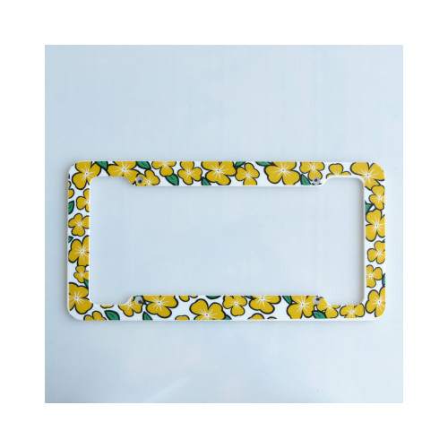 Aloha Yellow Plumeria License Plate Frame