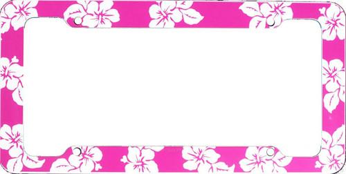 Aloha Pink Hibiscus License Plate Frame