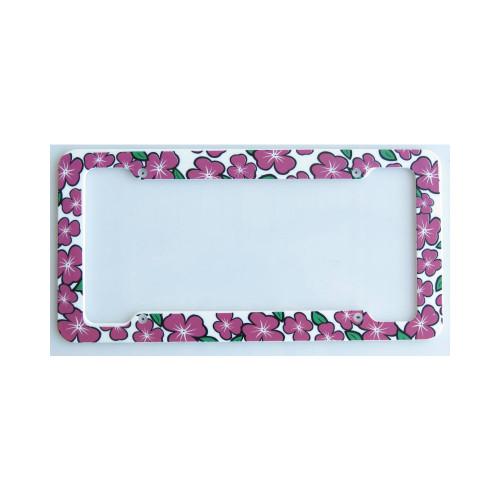 Aloha Pink Plumeria License Plate Frame
