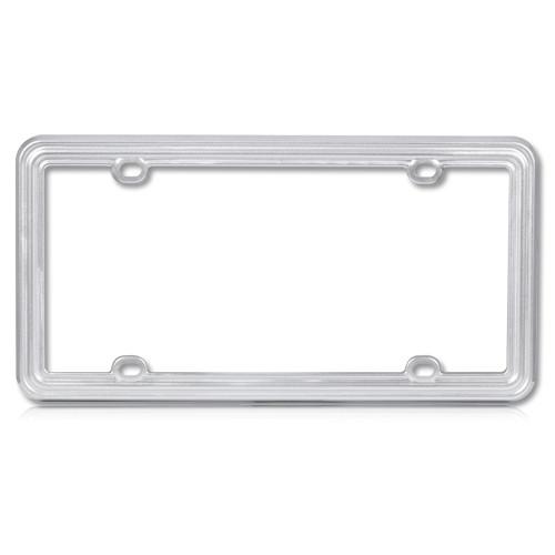 Silver License Plate Frame Heavy Duty Plastic