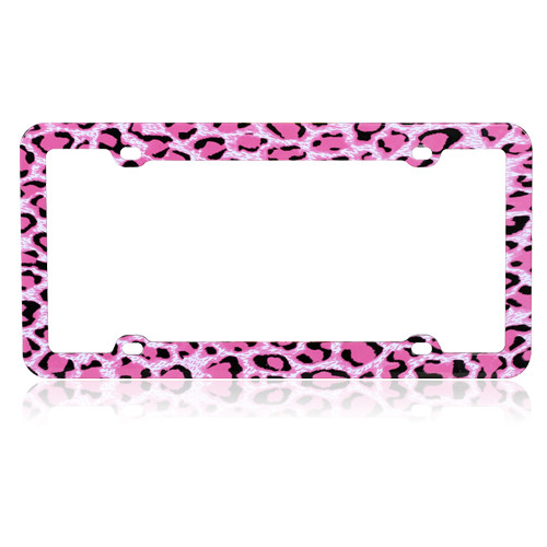Leopard License Plate Frame Hot Pink Skin Print Graphic