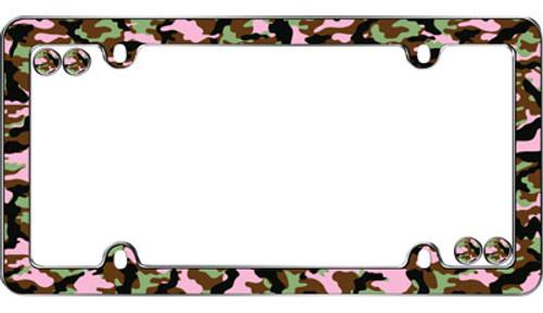 Camo Girl Chrome Plated License Plate Frame Plastic