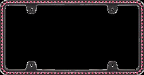 Diamondesque Matte Black /  Hot Pink Crystals License Plate Frame