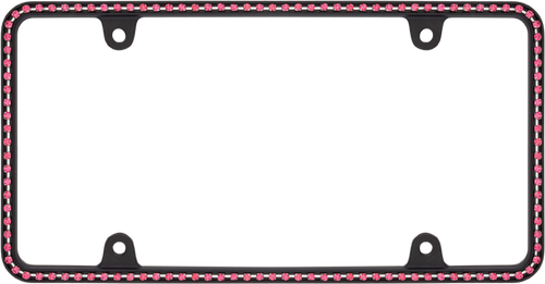 Diamondesque Matte Black /  Hot Pink Crystals License Plate Frame