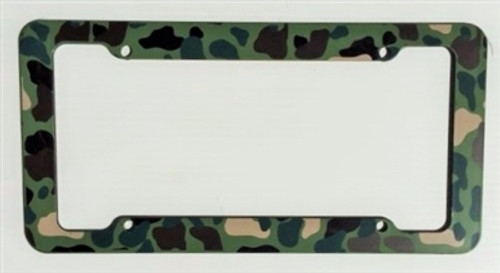 Green Camouflage License Plate Frame Plastic