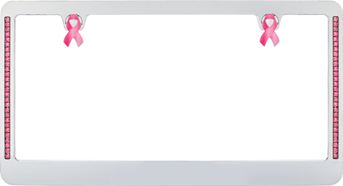 Ford Mustang Pink Ribbon Chrome Plated License Plate Frame