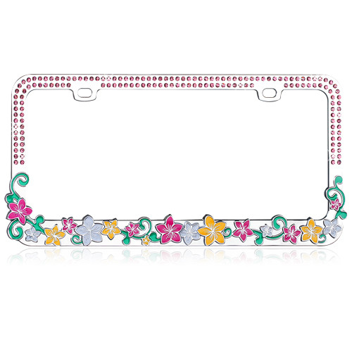 Hawaiian Flowers License Plate Frame with Pink Crystals