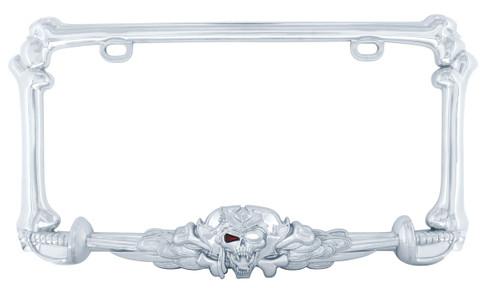 Pirate Skull and Sword License Plate Frame Chrome
