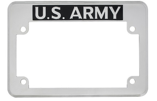 United States US Army Motorcycle Military License Plate Frame Chrome