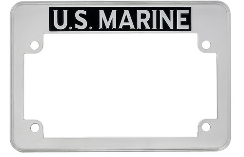 United States US Marine Chrome Motorcycle Military License Plate Frame
