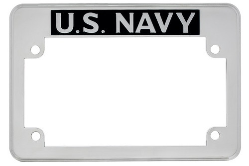 United States US Navy Motorcycle Military License Plate Frame Chrome