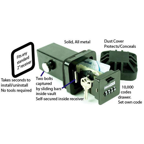HitchSafe Trailer Hitch Receiver Combination Key Storage Lock Box Safe