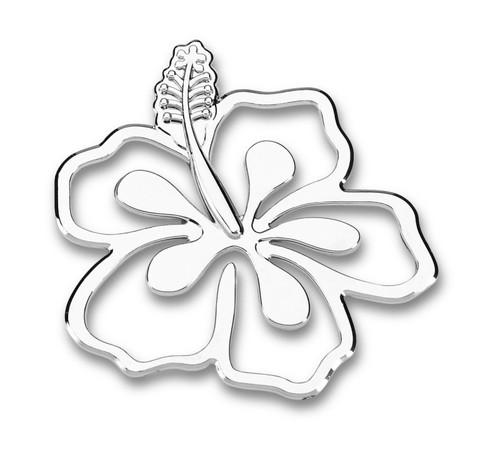 Hibiscus Flower 3D-CALS 3-D Chrome Plated Plastic Emblem
