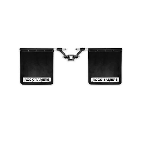 Rock Tamers Hub Mudflap System Matte Black with Stainless Steel Trim Plates 2 Inch