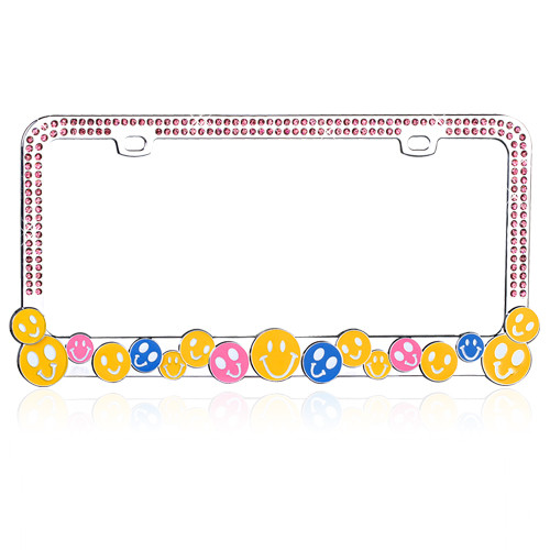 Smile Happy Face License Plate Frame Chrome with Pink Crystals