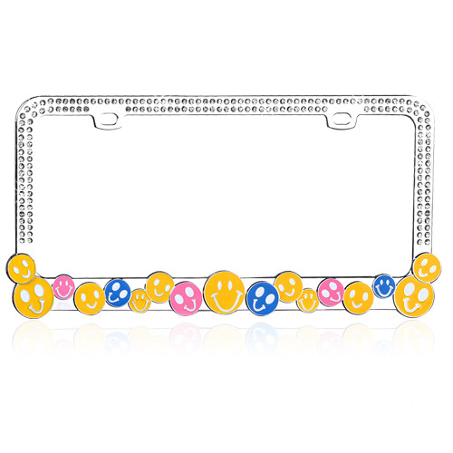 Smile Happy Face License Plate Frame Chrome with White Crystals