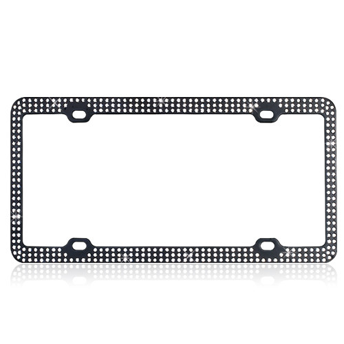 Black Metal License Plate Frame with White Crystals