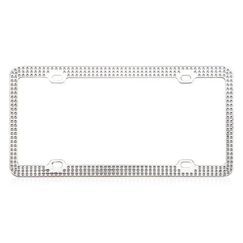 Chrome Metal License Plate Frame with White Crystals