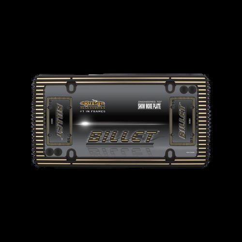 Billet License Plate Frame Black with Matte Gold