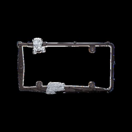 Fishing License Plate Frame Black Chrome