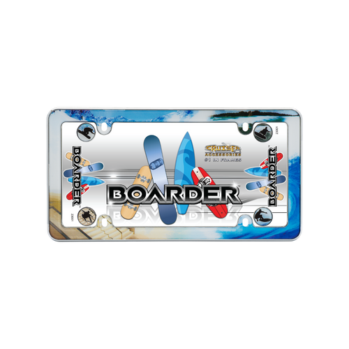 Boarder License Plate Frame Chrome Plated Plastic