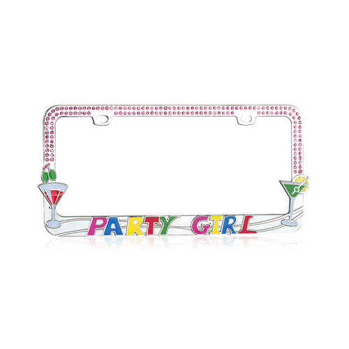 Party Girl License Plate Frame Chrome with Pink Crystals