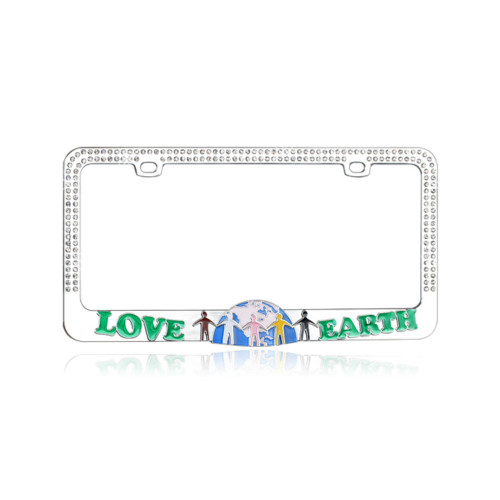 Earth Love License Plate Frame Chrome with White Crystals