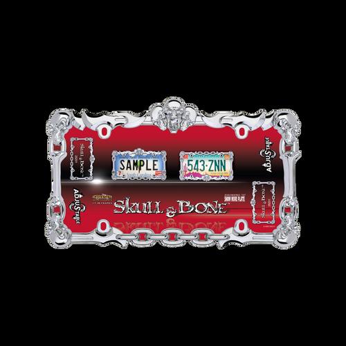 Skull and Bone License Plate Frame Chrome