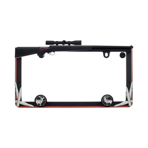 Hunting License Plate Frame Matte Black Orange Chrome