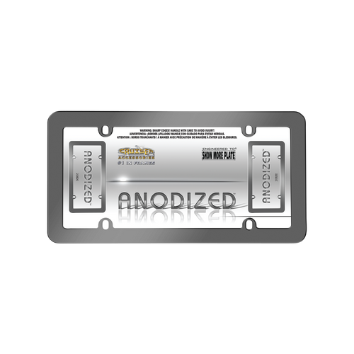 Anodized Aluminum License Plate Frame Gray