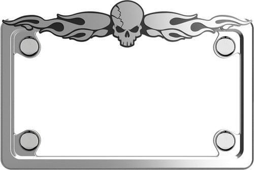 Motorcycle Skull Chrome Plated Licence Plate Frame