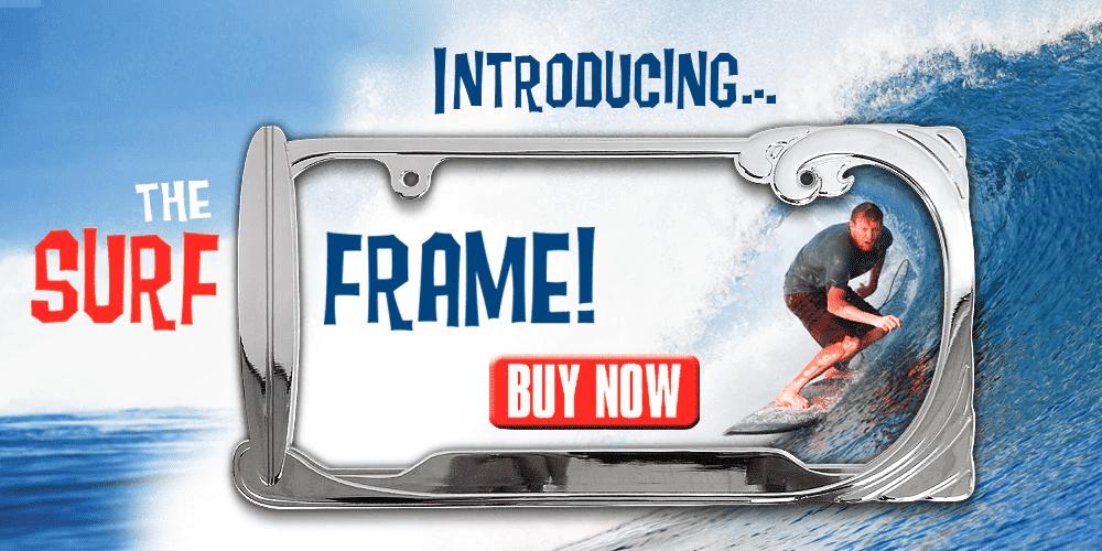 Surfing License Plate Frame CarDetails.com