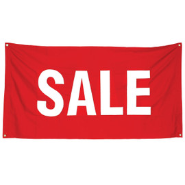 Fabric Banner Flag Single Red with White SALE 1680w x 920h