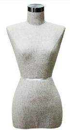 Female Cloth Bust Only Long Hip Size 10 w Metal Neck Cap Linen