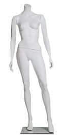 Female Mannequin Headless Arms at Sides Angled White