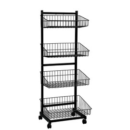 Wire Basket Unit 4 Tier Single Sided 570wx1520h Black